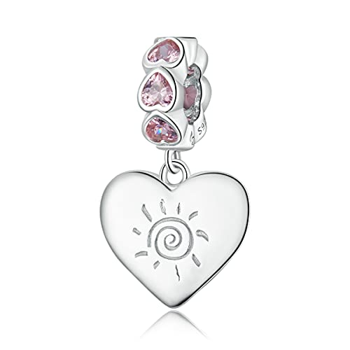 Teleye Abalorio de plata de ley 925 con diseño de corazón y texto en inglés romántico, compatible con pulseras Pandora, pulseras europeas