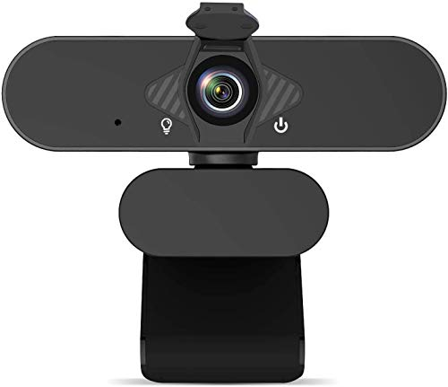 1080P Web Camera, HD Webcam with Microphone & Privacy Cover, USB Computer Camera, 110-degree Wide Angle, Plug and Play, for Zoom Skype Teams OBS, Conferencing and Video Calling