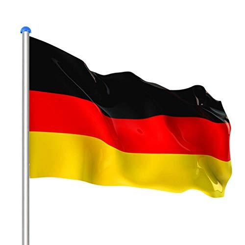 wolketon Aluminium Fahnenmast 6,5m + Deutschlandfahne 150 * 90 cm,witterungsbeständigem Flaggenmast und stabilen Bodenhülse veschönern Sie Ihren Garten