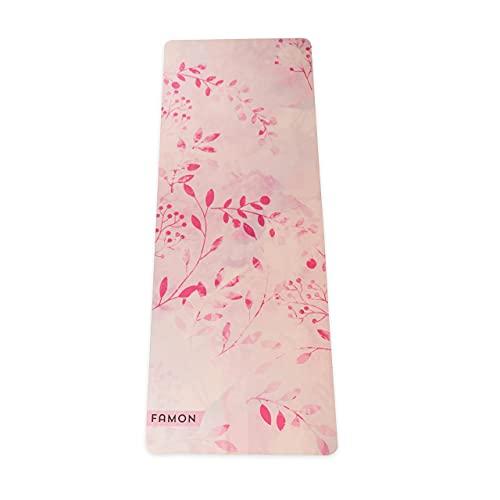 FAMON Esterilla de yoga premium – 100% caucho natural con superficie antideslizante (Cherry Blossom)