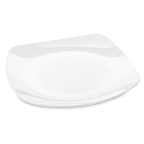 Koziol 3678525 Assiette, Plastique, Blanc Opaque, 35,5 x 35,5 x 2,5 cm