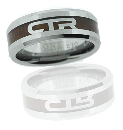 One Moment In Time J185 Size 11 Duo Titanium Ion Wood & Steel CTR Ring Mormon LDS Unisex