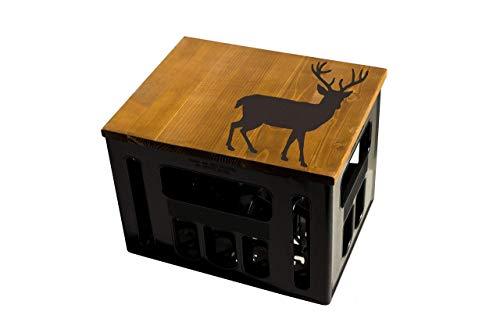 ultiMade Bierkastensitz Holz Sitzauflage für Bierkiste Geschenkidee Geschenk für Männer Biergeschenk Hocker Holz: Tiere Hirsch
