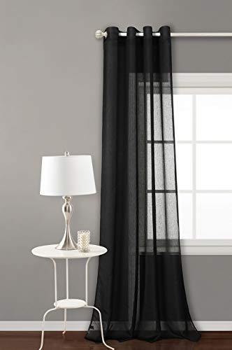 PimpamTex - Cortina Translucida Tipo Visillo con Ollaos de 140x260 cm, 1 ud. para Salon, Dormitorio o Habitacion, Modelo Clara - Negro