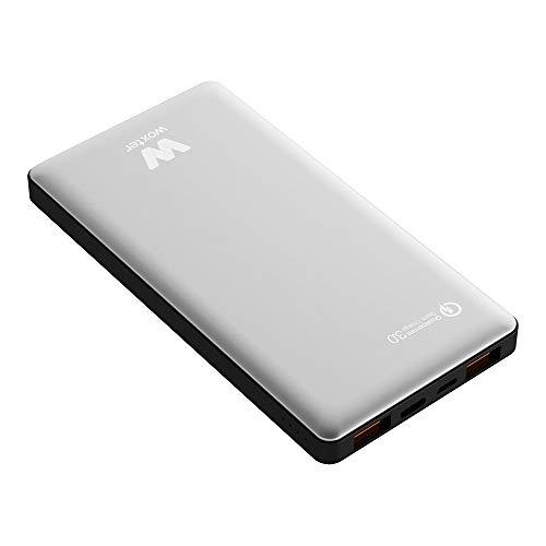 Woxter QC 16000 - Batería portátil (Conexión QC, 16.000 mAh, aleación de aluminio, compatible con Quick Charge 3.0) color plata