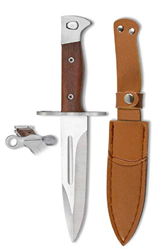 VIKING GEAR® klassisches Messer - Einhandmesser 26cm - Gürtelmesser - Jagdmesser - Arbeitsmesser - Gartenarbeit - Survival - Freizeit - Messer Prepper Knifer - Messer Silber,braun