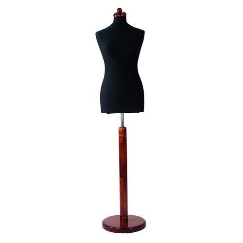 DPS Shopfitting Damen Schneiderbüste, Bezug Schwarz, Rundfuß Ständer Mahagoni