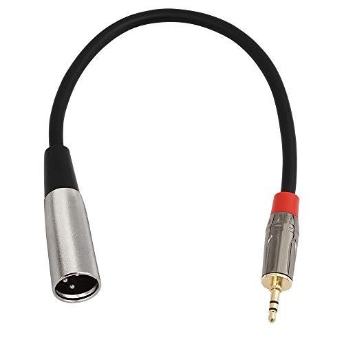 picK-me XLR 3 Pines Macho a 3.5mm TRS Macho Cable de Micrófono Blindado con Enchufe Estéreo, para Grabadora de Voz, Tableta, Computadora Portátil y Más (M-0.3M / 0.98FT)
