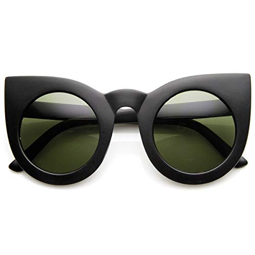zeroUV - 70s Womens Large Oversized Retro Vintage Cat Eye Sunglasses For Women with Round Lens 48mm (Matte Black/Gree)