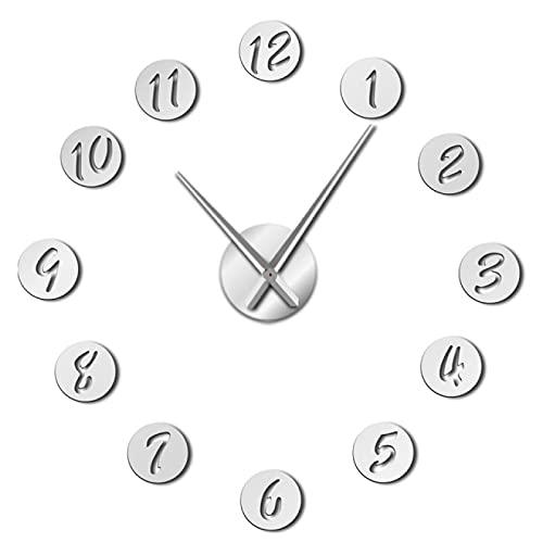 hufeng Reloj de Pared DIY Reloj de Pared Reloj de Pared silencioso 3D Moderno Reloj con números de Espejo Pegatinas de acrílico para Oficina en casa Plata 47 Pulgadas
