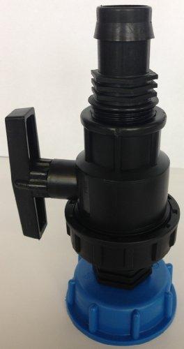 CMS601359488 Tube d'écoulement avec boule plastique robinet + Douille 1, IBC Adaptateur de réservoir d'eau de pluie de Accessoires de conteneurs Mamelon de Bidon