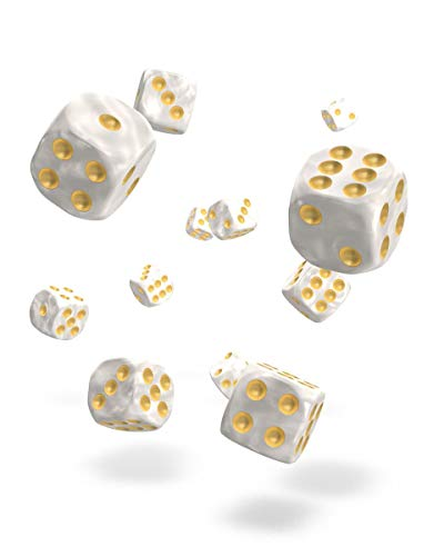 Oakie Doakie Dice D6 Dice 12 mm Marble - White (36) Role Zubeh