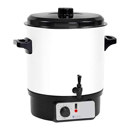 Royal Catering Glühweintopf Glühweinkocher mit Zapfhahn Heißgetränkespender RCMW-27DTB (27 L, 1.800 W, Temperatur 30–100 °C, Stahl, Kunststoff)