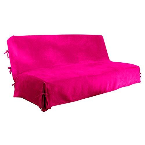 Antonouse Copridivano senza braccioli Fodera per divano a 3 posti senza braccioli Fodera per divano letto (rosa rossa)