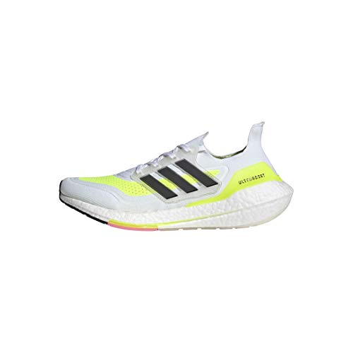 adidas Men's Ultraboost 21 Running Shoe, White/Black/Solar Yellow, 8.5