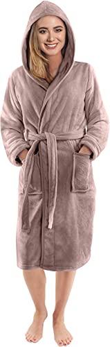 NY Threads Robe de Chambre Polaire à Capuche pour Femme - Peignoir en Peluche et Douillet pour Dames (Medium, Taupe)