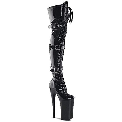 HOMDREAM High Heels 20CM Super High Heels Overknee-Stiefel Magazine Cover Shooting Model Long Boots,Black-46