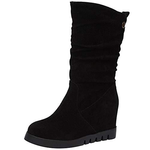 COOLCEPT Mujer Casual Tacón de Cuña Botas Media Pierna Sin Cordones Tacón Alto Botas Plisada Plataforma Otoño Zapatos Black Size 39 Asian