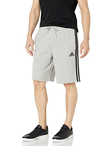 adidas Men's Standard Essentials Fleece 3-Stripes Shorts, Medium Grey Heather/Black, Small