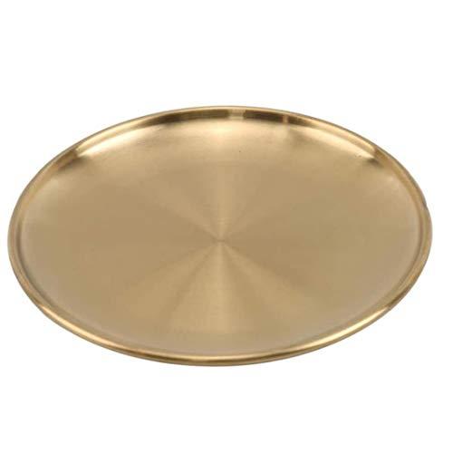 DierCosy Tools Joyas de Oro Redondo de Acero Inoxidable Herramientas de Estilo Europeo Alimentación Cocina y Hacer hacia Arriba la Bandeja Decorativo Organizador/Vela Placa (23 cm)