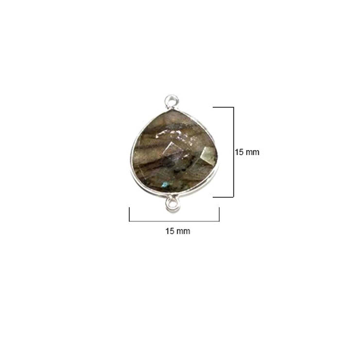 2 Pcs Labradorite Heart 15mm by BESTINBEADS I Labradorite Stone I Labradorite Heart Pendant I Heart Pendant Silver I Bezels Connectors I Labradorite Pendant Silver I Heart Bezel