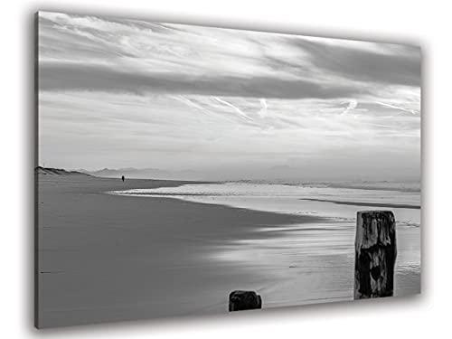 Hexoa - Cuadro de paseo sobre la playa en Hossegor antes de la tormenta, fabricado en Francia – Cuadro de cristal acrílico – 100 x 60