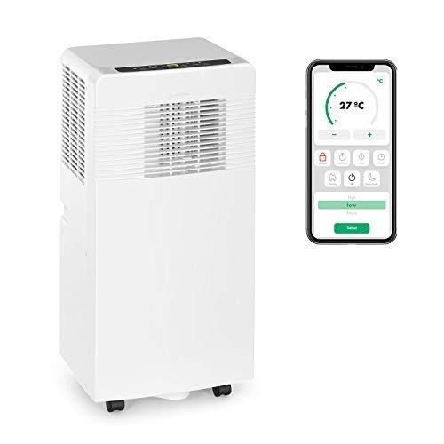 Klarstein Iceblock Ecosmart - mobile Klimaanlage, 3-in-1: Kühlung, Entfeuchtung, Ventilation, WiFi: Steuerung per App, Energieeffizienzklasse A, 7.000 BTU / 2,1 kW, Raumgröße: 21 bis 34 m², weiß