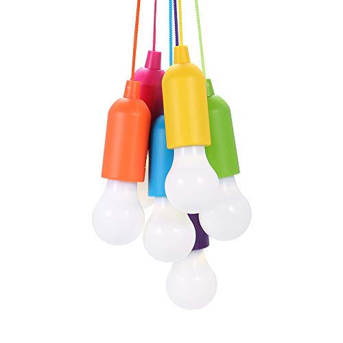 6 Stück Pull Light,Lamping LED Leuchte,Tragbare LED Zugschnur Licht LED Leuchte Colors Glühbirnen Campinglampe Dekoratives Licht für Wandern, Angeln, Schreibtisch, Camping, Zelt, Garten
