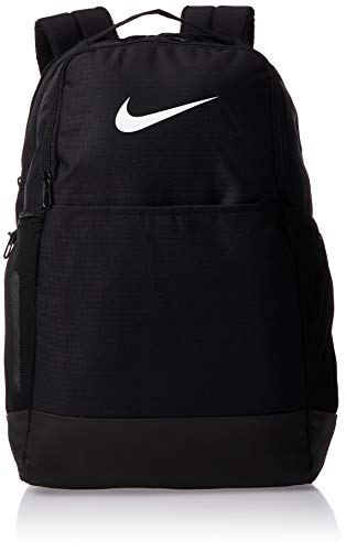 Nike Brasilia Medium Training Backpack, Nike Backpack for Women and Men with Secure Storage & Water Resistant Coating, Black/Black/White