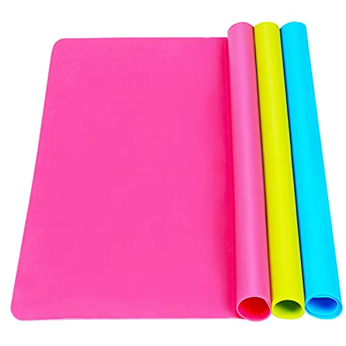 """3 Pack Large Silicone Sheets for Crafts, Liquid, Resin Jewelry Casting Molds Mat, Silicone Placemat. 15.7"""" x 11.8"""" (Blue & Rose Red & Green)"""