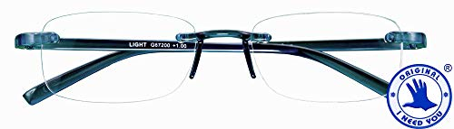 I NEED YOU LIGHT, G67200, Randlose Brille aus Kunststoff mit Etui, blau, 2.5 Dioptrien