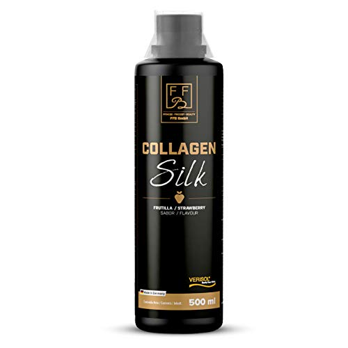 FFB Collagen Silk 500 ml/Kollagen Hydrolysat als Collagen Drink mit Erdbeer-Geschmack/Collagen Peptide als Anti Aging Komplex/Collagen Liquid als Beauty-Drink mit Vitamin C, Zink & Biotin