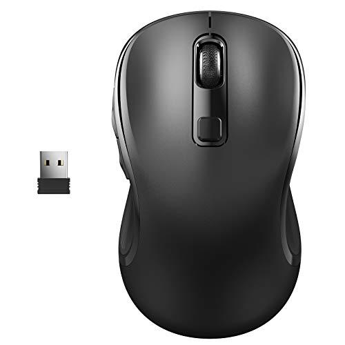 WisFox Kabellose Maus, 2.4G Kabellose Maus Laptop Maus Computermaus USB rutschfeste Ergonomische Maus 6 Tasten mit Nano-Empfänger 3 Einstellbare DPI-Werte Drahtlose Mäuse für Windows, Mac (Schwarz)