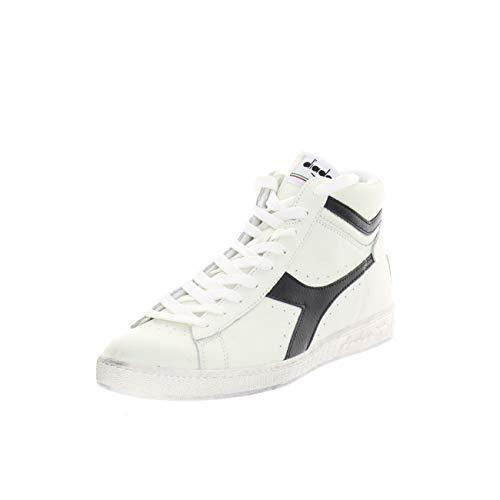 Diadora Game L High Waxed, Scarpe Sportive Alte Unisex – Adulto, Bianco (White/Black C0351), 46 EU