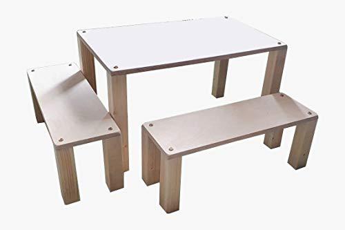 Mesa con dos bancos de madera para jardín, sótano, interior, exterior, mesa bancos
