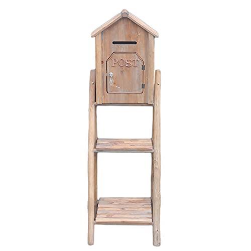 Briefkasten Briefkasten Holz, Mehrzweck Hölzern Blumenstand Hofgartendekoration, Bauernhaus Retro Postfach-Ausstellungsständer für Indoor-Outdoor-Eingang