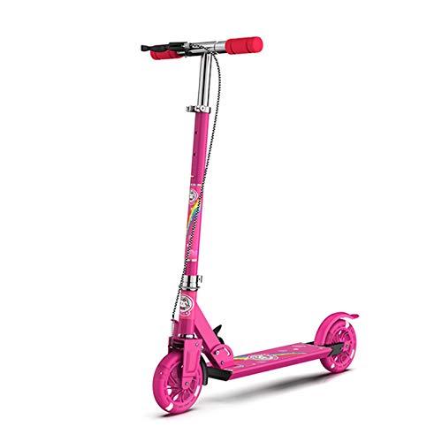 Patinete plegable para niños, con dos ruedas, ligero, para cumpleaños, Año Nuevo, admisión, celebración, viaje, entretenimiento, scooter portátil, color rosa