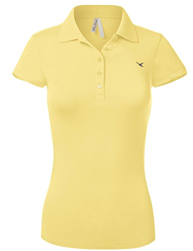 Luna Flower Slim Fit Long Waist Short Sleeve Plain Polo Tee Shirts 102-Banana US L