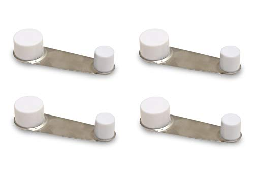 [x4] Tope de Puerta Retenedor - Giratorio - Adhesivo 3,2 x 10 x 2,2 cm (Blanco)