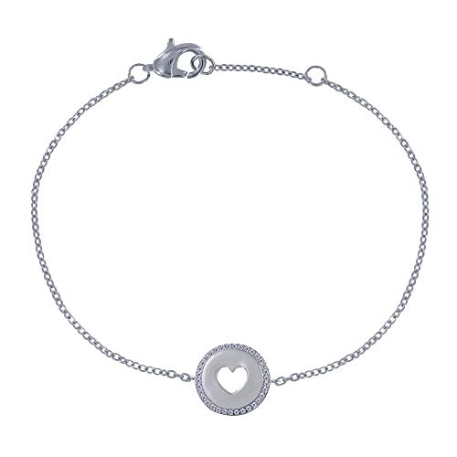 Joyas Les Poulettes - Pulsera de Plata Rodio Medalla Redonda Corazón Calado y Pedrería