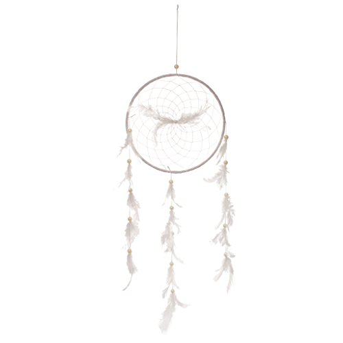 Gazechimp Rétro Attrape-rêves Plume Perle Artificielle Dream Catcher Décoration Suspension -Blanc