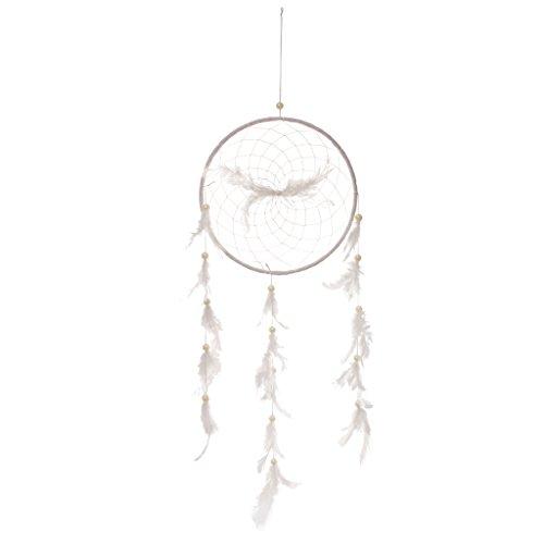Gazechimp Rétro Attrape-rêves Plume Perle Artificielle Dream Catcher Décoration Suspension -Blanc