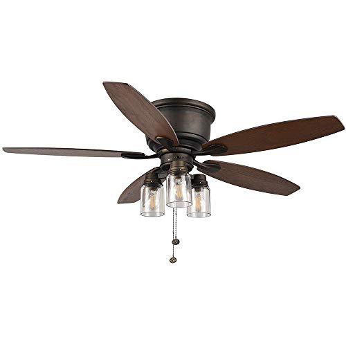 Hampton Bay Stoneridge 52 in. LED Indoor/Outdoor Bronze Hugger Ceiling Fan with Light Kit
