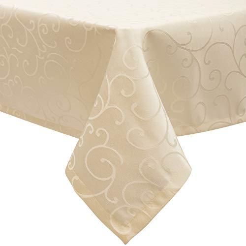 EUGAD Tischdecke Damast Ornamente Seidenglanz Kringel/Circle Design Tafeldecke mit Saum, Tischtuch Größe & Farbe wählbar, Edel Tisch Decke Abwaschbar und Bügelfrei, Eckig 110x140 cm Cappuccino