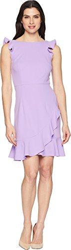 Donna Morgan Women's Sleeveless Crepe Bodycon Dress with Ruffles, Lavender, 10