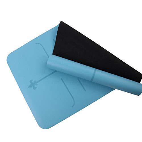 Xinxin24 aanbiedingen yogamat trainingsmat TPE Pilates trainingsmateriaal gestructureerd anti-slip oppervlak en optimale demping met lichaamsrichtingslijnen schouderriem 183 * 68 * 0,5