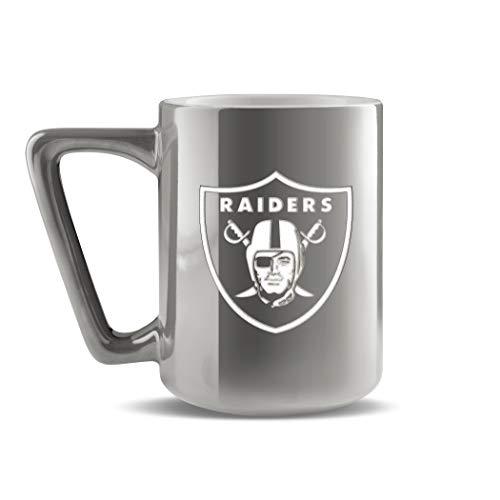 NFL Las Vegas Raiders Keramik-Kaffeetasse mit Metallic-Finish | professionelle Keramik | Lasergraviertes Team-Logo | BPA-frei | spülmaschinenfest | 473 ml
