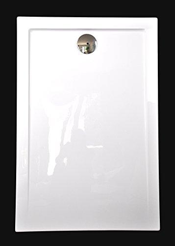 Superflache Duschwanne Duschtasse 80 x 120 cm Komplettes Set aus Acryl kratz und rutschfest glatt Weiß Hochglanz Höhe 3,5 cm inkl. Ablaufgarnitur