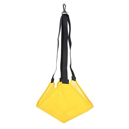 Alomejor Schwimmen Widerstandsgürtel Schwimmen Kraftgürtel mit Schwimm Fallschirm Schwimmgürtel-Widerstandsgurt mit Netztasche(Gelb)