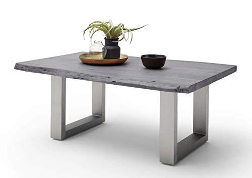 Möbel-Store24 Couchtisch Wohnzimmertisch Baumkante Akazie-massiv U-Form rechteckig grau lackiert 110 cm Cartagen M58012UEG
